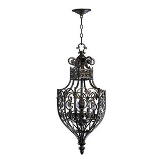 Quorum 6831-6-86 - Foyer Pendant - 6 Light - Oiled Bronze Finish