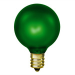 15 Watt - Luminescent Emerald Green - G16.5 - Candelabra Base - 130 Volt - 1,500 Life Hours - Amusement Light Bulb - Antique Light Bulb Co. L1895
