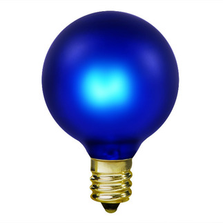 15 Watt - Luminescent Cobalt Blue - G16.5 - Candelabra Base - 130 Volt - 1,500 Life Hours - Amusement Light Bulb - Antique Light Bulb Co. L1896