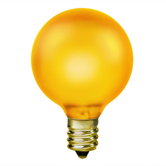 15 Watt - Luminescent Topaz Yellow - G16-1/2 - Candelabra Base - 130 Volt - 1,500 Life Hours - Amusement Light Bulb - Antique Light Bulb Co. L1897