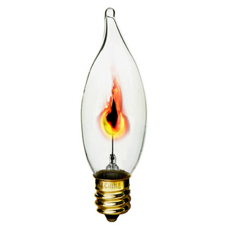 3 Watt - CA10 - Flicker Flame - 130 Volt - Candelabra Base - Chandelier Decorative Light Bulb - Bulbrite 410313