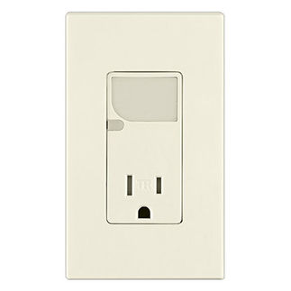 Leviton T6525-T - Combination Decora Tamper Resistant Receptacle with LED Guide Light - Light Almond