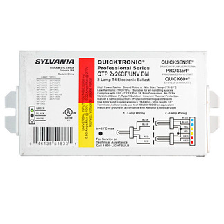 Sylvania Quicktronic 51833 - 120/277 Volt - Programmed Start - Ballast Factor 1.0 - Power Factor 98% - Min. Temp. Rating -4 Deg. F - Operates (2) 26 Watt Compact Fluorescent Lamps - CFL Ballast