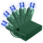 Blue - Battery Powered - 20 LED Bulbs - Wide Angle Lens - Length 11.17 ft. - Bulb Spacing 6 in. - Green Wire - Christmas Mini Light String - Holiday Lite Source 45211BA