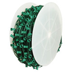 C7 Stringer - 1,000 Foot - 1,000 Sockets - 12 in. Spacing - Green Wire - Commercial Christmas Lights - HLS C7100012G