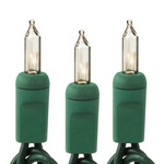 Clear - 120 Volt - 100 Bulbs - Length 50.5 ft. - Bulb Spacing 6 in. - Green Wire - Christmas Mini Light String - HLS 6-100-CLR-G