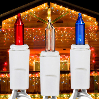 Red, White, and Blue - 120 Volt - 150 Bulbs - 27 Drops - Lighted Length 7 ft. - Drop Spacing 6 in. - 22 AWG - White Wire - Christmas Icicle Light String - HLS ICE150RCBW