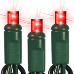 Red - 120 Volt - 50 LED Bulbs - Wide Angle Lens - Length 25.16 ft. - Bulb Spacing 6 in. - Green Wire - Christmas Mini Light String - Superior Holiday Lighting 110327466