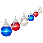 (6 Globe) Patio Light String - 120 Volt - 30 ft. - Prizmatic Acrylic 6 in. Red, White and Blue Globes - Polymer Products 1699-00705