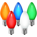 (25 Bulbs) C9 - Multi-Color Opaque - 7 Watt - Intermediate Base - Christmas Lights - HLS C9-O-MUL Replacement Light Bulbs