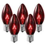 (25 Bulbs) C9 - Transparent Red - Triple Dipped - 7 Watt - Intermediate Base - Christmas Lights - HLS C97WRED