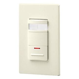Leviton Decora OSSNL-IDT - Single Pole - Passive Infrared Selectable On/ Auto Off Occupancy Sensor with LED Night Light - 800 Watt - Light Almond