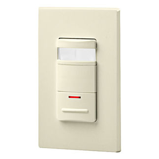 Leviton Decora OSSNL-IDA - Single Pole - Passive Infrared Selectable On/Auto Off Occupancy Sensor with LED Night Light - 800 Watt - Almond