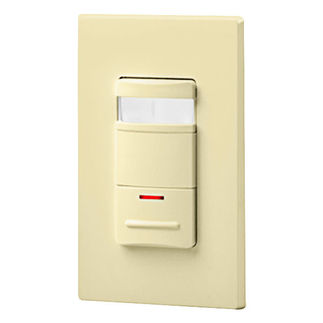 Leviton Decora OSSNL-IDI - Single Pole - Passive Infrared Wall Switch Occupancy Sensor with LED Night Light - 800 Watt - Ivory