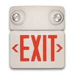 LED - Combination Exit Sign - AC and Emergency Operation - Self-Testing - Exitronix VEX-U-BP-WB-WH-EL55H-G2