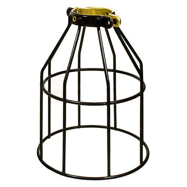 metal lamp guard heavy duty bulb cage brass and black. Black Bedroom Furniture Sets. Home Design Ideas
