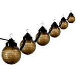 (6 Globe) Patio Light String - 120 Volt - 30 ft. - Striped Acrylic 6 in. Bronze Globes - Polymer Products 1632-77404
