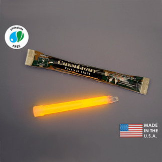 NSN 6260-01-247-0363 - 6 in. ChemLight Light Sticks - Orange - Hi-Intensity - 5 Minutes - Military Grade - Cyalume 9-03630PF