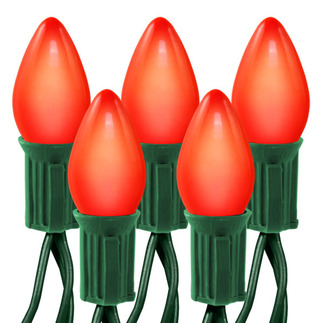 Opaque Red - 120 Volt - 25 Bulbs - C7 Shape - Length 25 ft. - Bulb Spacing 12 in. - 20 AWG - Green Wire - Christmas Light String