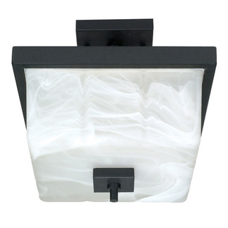 (2 Light) Semi-Flush Ceiling Fixture - Textured Black / Alabaster Glass - Nuvo Lighting 60-002
