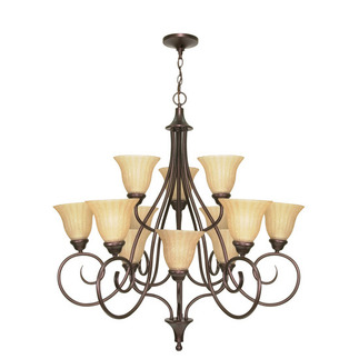 (12 Light) (3 Tier) Chandelier - Copper Bronze / Champagne Linen Washed Glass - Nuvo Lighting 60-009