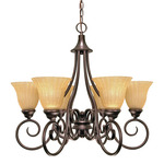 (6 Light) Chandelier - Copper Bronze / Champagne Linen Washed Glass - Nuvo Lighting 60-010