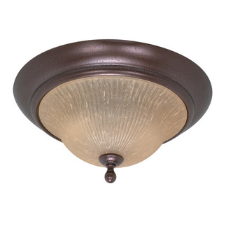 (2 Light) Flush Mount - Copper Bronze / Champagne Linen Washed Glass - Nuvo Lighting 60-011
