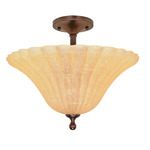(3 Light) Semi-Flush - Copper Bronze / Champagne Linen Washed Glass - Nuvo Lighting 60-012