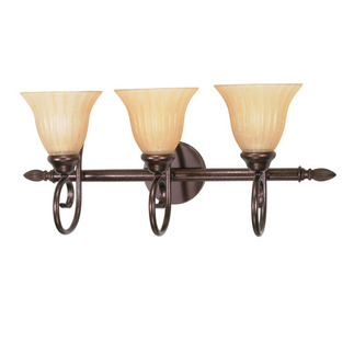 (3 Light) Vanity - Copper Bronze / Champagne Linen Washed Glass - Nuvo Lighting 60-017