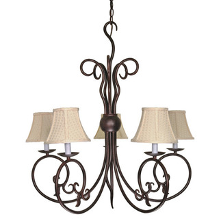 (5 Light) Chandelier - Old Bronze / Linen Waffle Shade - Nuvo Lighting 60-040