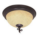 (3 Light) Flush Mount Ceiling Fixture - Old Bronze / Tuscan Suede Glass - Nuvo Lighting 60-041