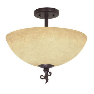 (3 Light) Semi-Flush Ceiling Fixture - Old Bronze / Tuscan Suede Glass - Nuvo Lighting 60-042