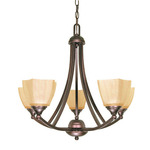 (5 Light) Chandelier - Copper Bronze / Champagne Linen Washed Glass - Nuvo Lighting 60-055