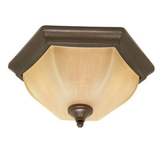 (2 Light) Flush Mount Ceiling Fixture - Copper Bronze / Champagne Linen Washed Glass - Nuvo Lighting 60-056