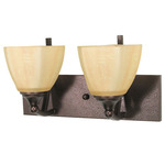 (2 Light) Vanity - Copper Bronze / Champagne Linen Washed Glass - Nuvo Lighting 60-060