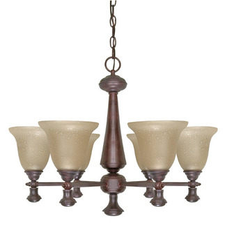 (6 Light) Chandelier - Old Bronze / Amber Water Glass - Nuvo Lighting 60-100 - Residential Light Fixture