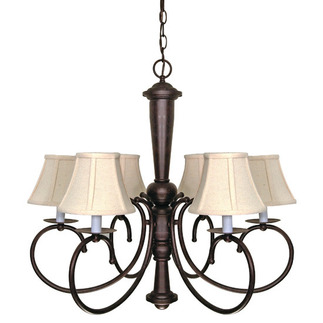 (6 Light) Chandelier - Old Bronze / Natural Linen Shades - Nuvo Lighting 60-101