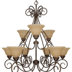 (9 Light) Chandelier (2 Tier) - Sonoma Bronze / Champagne Linen Washed Glass - Nuvo Lighting 60-1022 - Residental Light Fixture