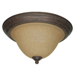 (2 Light) Flush Mount Ceiling Fixture - Sonoma Bronze / Champagne Linen Washed Glass - Nuvo Lighting 60-1026