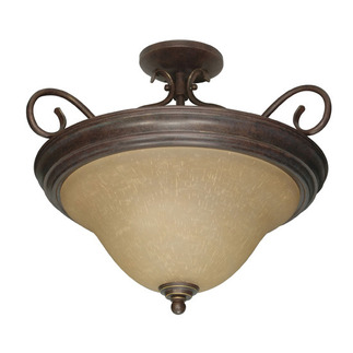 (3 Light) Semi-Flush Ceiling Fixture - Sonoma Bronze / Champagne Linen Washed Glass - Nuvo Lighting 60-1027