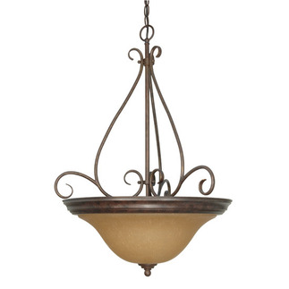 (3 Light) Pendant - Sonoma Bronze / Champagne Linen Washed Glass - Nuvo Lighting 60-1028 - Residential Light Fixture