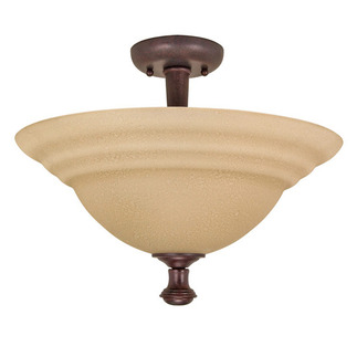 (2 Light) Semi-Flush Ceiling Fixture - Old Bronze / Amber Water Glass - Nuvo Lighting 60-103