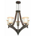 (5 Light) Chandelier - Golden Umber / Burnt Sienna Glass - Nuvo Lighting 60-1041