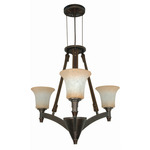 (3 Light) Chandelier - Golden Umber / Burnt Sienna Glass - Nuvo Lighting 60-1042