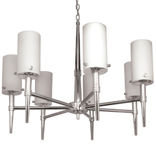 (7 Light) Halogen Chandelier - Polished Chrome / Satin White Glass - Nuvo Lighting 60-1065