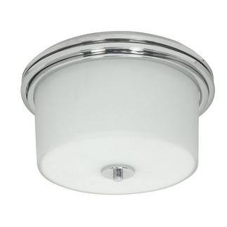 (2 Light) Halogen Flush Mount Ceiling Fixture - Polished Chrome / Satin White Glass - Nuvo Lighting 60-1069