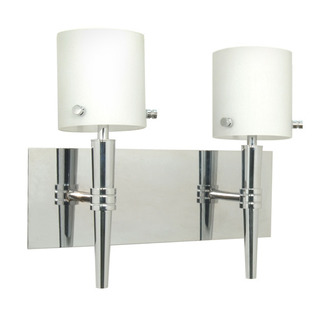 (2 Light) Halogen Vanity - Polished Chrome / Satin White Glass - Energy Star Qualified - Nuvo Lighting 60-1072 - Residential Light Fixture