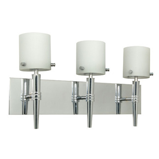 (3 Light) Halogen Vanity - Polished Chrome / Satin White Glass - Energy Star Qualified - Nuvo Lighting 60-1073