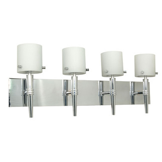 (4 Light) Halogen Vanity - Polished Chrome / Satin White Glass - Energy Star Qualified - Nuvo Lighting 60-1074