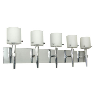 (5 Light) Halogen Vanity - Polished Chrome / Satin White Glass - Energy Star Qualified - Nuvo Lighting 60-1075